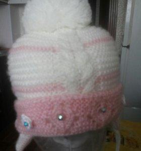 Шапка зима на девочку с завязками
