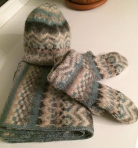 Шарф+шапка+рукавички из исландской шерсти