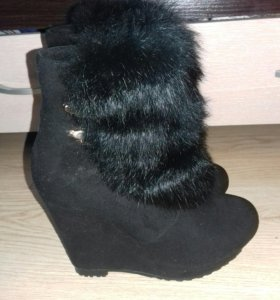 Ботинки на платформе замшевые на зиму