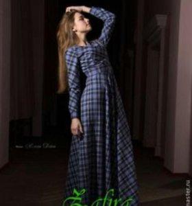 Платье длинное в клетку