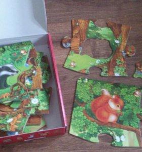 Пазл волшебный лес, кубики, мозайка