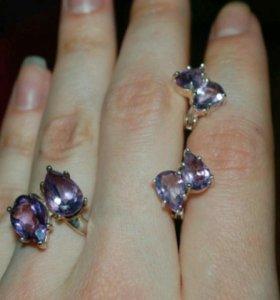 Серебряные серьги с аметистами, кольцо