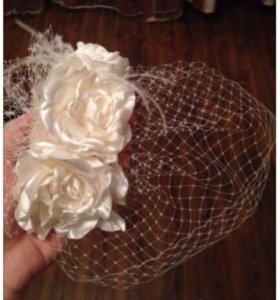 Свадебная карнавальная  шляпка вуалетка , вуаль