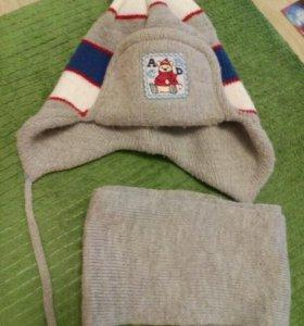 Детские шапка с шарфом