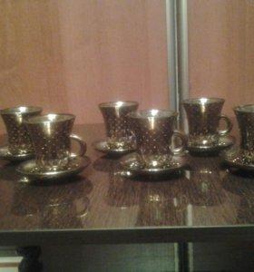 Кофейные чашки.(стекло с золотым напылен.12шт.)