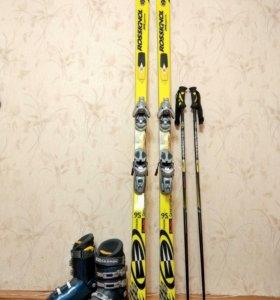 Горные лыжи Rossignol 9S +ботинки +палки