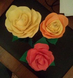 Цветы из бумаги фоамирана