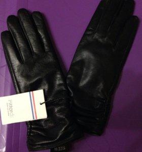 Новые кожаные женские перчатки 6,5