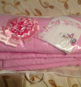 Комплект на выписку (одеяло уголок и бантик)
