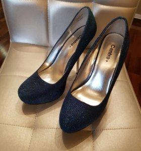 Туфли синие с блестками новые
