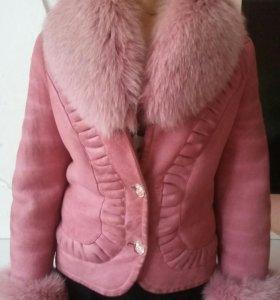 Дубленка короткая розовая