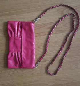 Клатч розовый, лаковый