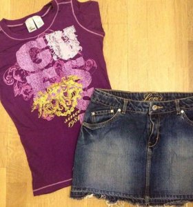 GUESS и LEVIS футболка и юбка, из США.