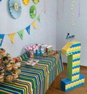 Единичка,вееры и растяжка на день рождения