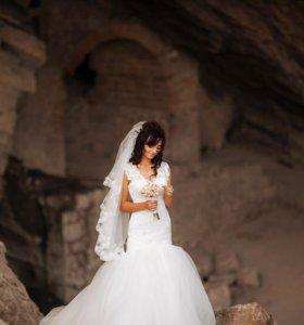 Платье свадебное(туфли в подарок)
