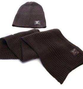 Шапка, шарф LV,комплект для мужчин