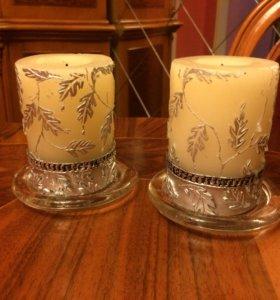 2 свечи на подставке