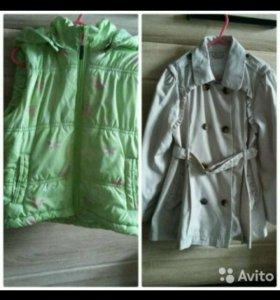 Продается плащ и жилетка для девочки.