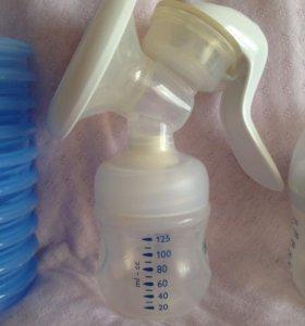 Молокоотсос Avent ручной и дополнительные стаканы