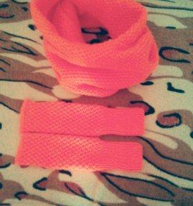 Комплект шарф-снуд и митенки