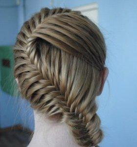 Плетение кос, кудри.
