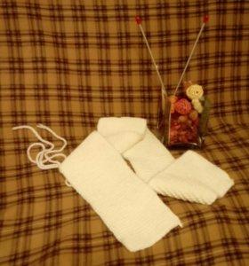 Белоснежный шарф ручной работы