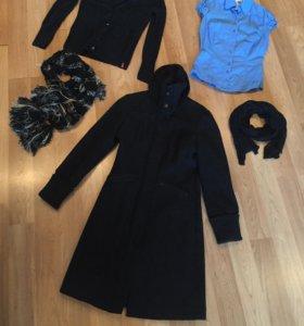 Пальто, рубашка, джемпер и два шарфа Mexx