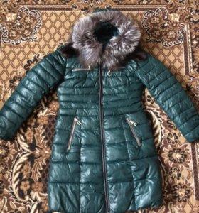 Пальто зима, мех натуралка, р 46
