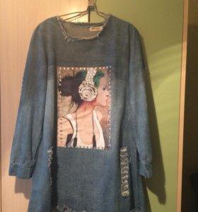 Платье джинсовое р.46