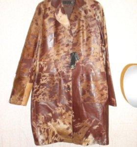 Пальто из натуральной кожи Cavalli