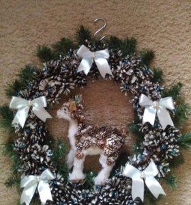 Венок рождественский с оленем