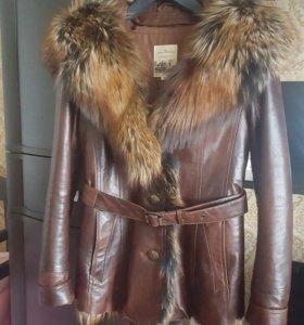 кожанная куртка с натуральным мехом.42-44р.