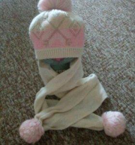 Зимние шапка+шарф