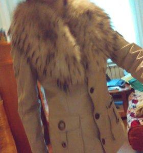 Кожанная куртка с песцом
