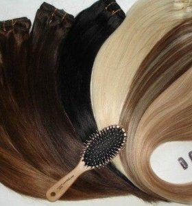Искусственные и натуральные волосы на заколках