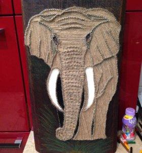 Панно слон , ручная работа