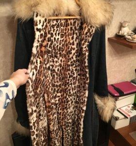 Меховое пальто (лиса, оцелот, джинсовая ткань)
