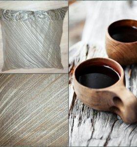 Подушка декоративная ручная работа кофе
