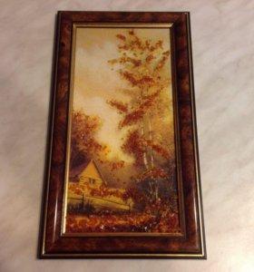 Картина (пейзаж) из янтаря винтаж