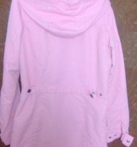 Куртка бежевая,плащ розовый