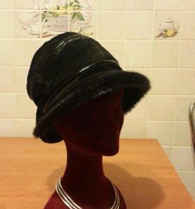 Шляпка замшевая с норковым мехом