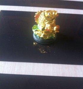 статуэтка Рыбка керамика под золото