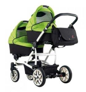 Bebetto 42, зеленая, коляска для двойни, доставка