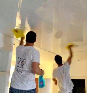 Мытьё натяжных потолков уборка