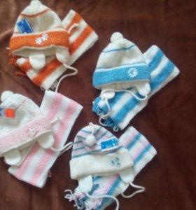 Нoвые Детские шапки с шарфиками