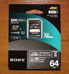 Новая карта памяти Sony CD XC 64GB
