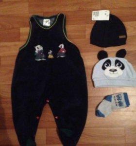 Шапочка панда и вязанная хлопок!