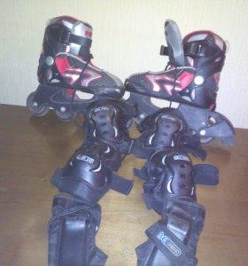 Коньки роликовые с защитой