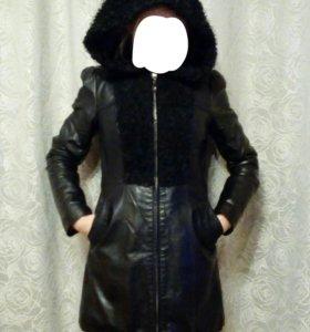 Кожанная куртка ,утепленная