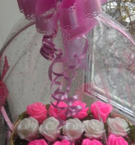 Корзиночка роз из мыла